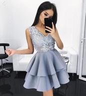 dress,pretty,blue,detailed,beautiful,short,blue dress,crystals blue,blue short dress,baddies,short dress,crystals short prom dress,short sleeve dress,light blue