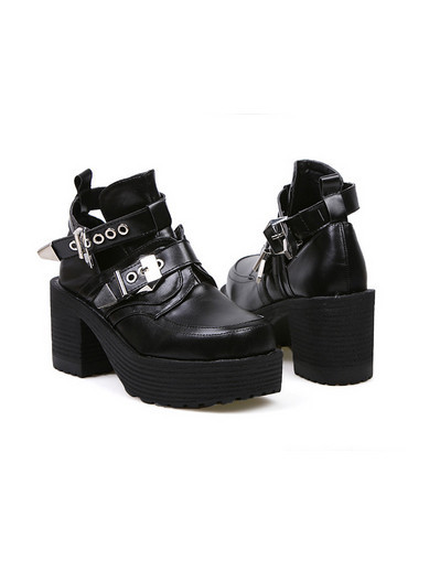 Chunky black leather boots shoes platform heels celebrity celeb