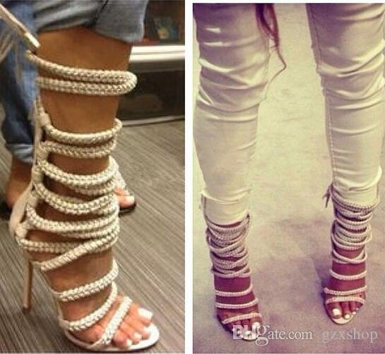 New Sexy High Heels Chains Rope Women Sandals Strappy Gladiator Sandals Ankle Women Boots Lace Up Shoes Woman Autumn Shoes Gold Shoes Flat Shoes From Gzxshop, $176.39| Dhgate.Com
