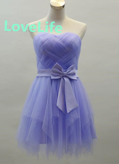 Charming Blue Tulle Mini Strapless Bowknot A-Line Homecoming Dress on Luulla