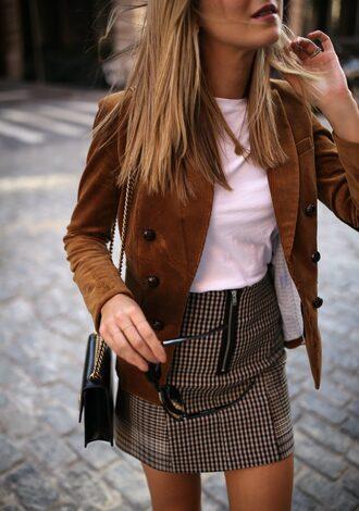 jacket tumblr blazer skirt mini skirt t-shirt white t-shirt fall outfits fall colors