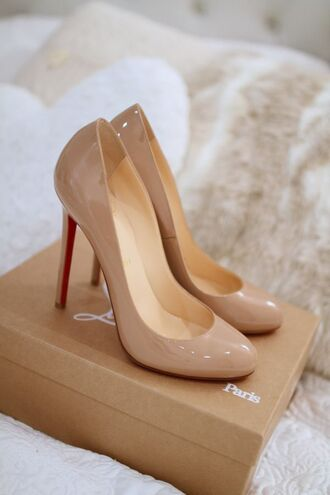 shoes beige shoes high heels louboutin