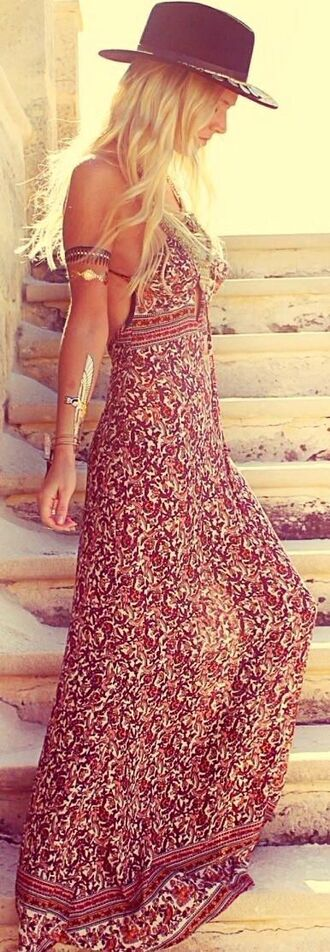 dress maxi dress summer dress boho dress gypsy hyppie boho boho chic bohemian flowery dress sleeveless hat country country style country dress long