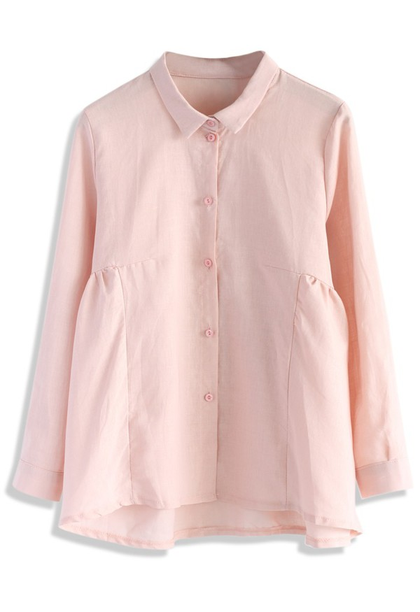 chicwish dolly shirt flare and pleats pink shirt