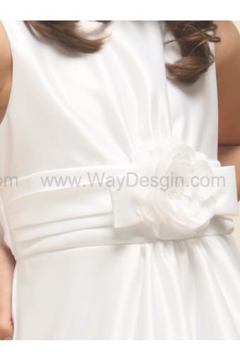 White Satin A-line Sleeveless Dress
