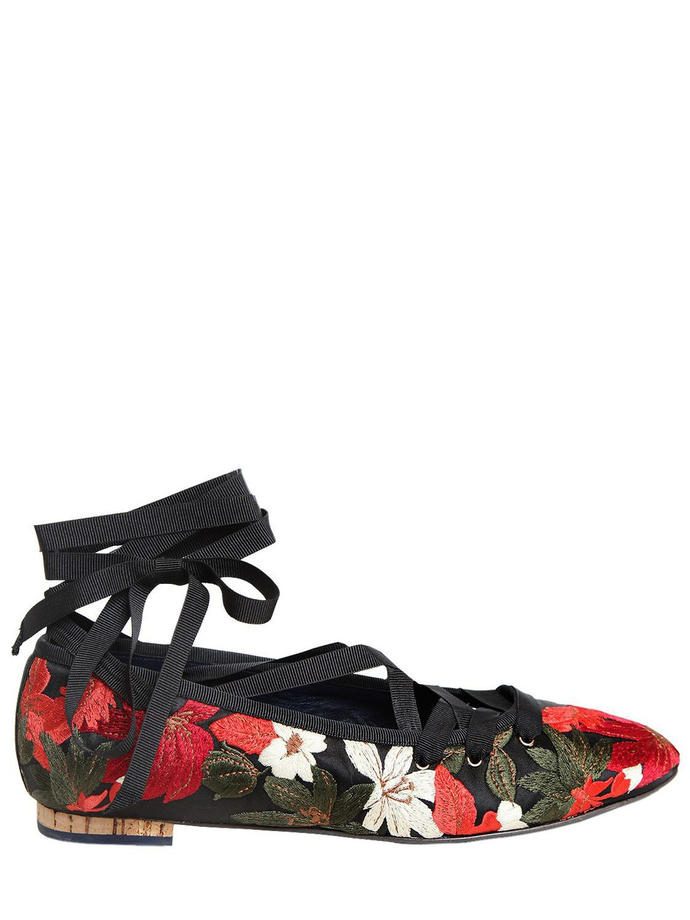 PALOMA BARCELÒ 10mm Embroidered Satin Lace Up Flats in black / red / white