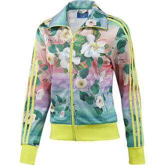 jacket adidasfarm farm floral floral jacket neon adidas adidas originals track jacket neon yellow neon adidas tracksuit