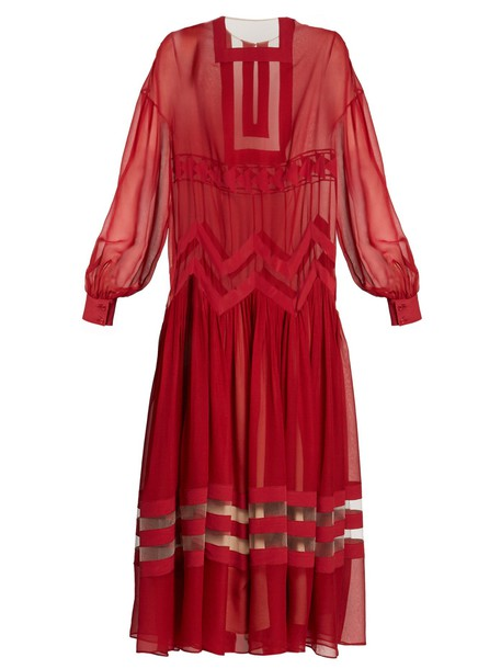 Fendi dress sheer silk red
