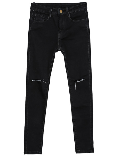 Slit Knee Slim Pants   Outfit Made