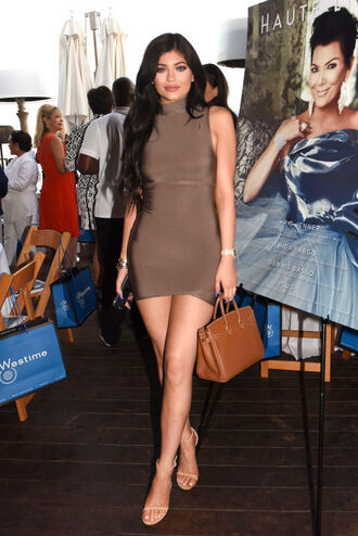 dress bag handbag heels kylie jenner kylie jenner dress bodycon bodycon dress mini dress high neck dress high neck celebrity celebrity style celebstyle for less girly cute summer dress summer outfits party dress taupe dress taupe brown brown dress