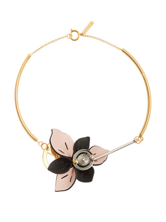 necklace floral leather pink jewels
