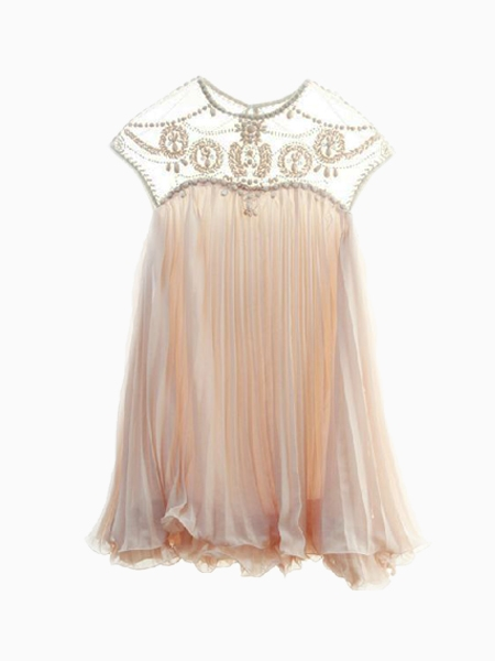 Pink Party Dress - Pale Pink Beaded Chiffon Neckline | UsTrendy