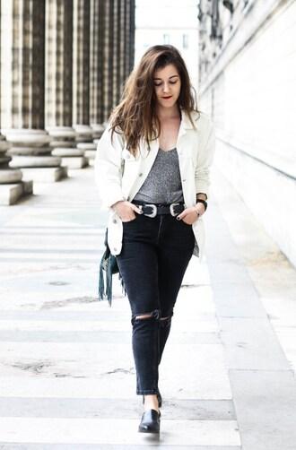 elodie in paris blogger jacket jeans belt top shoes jewels