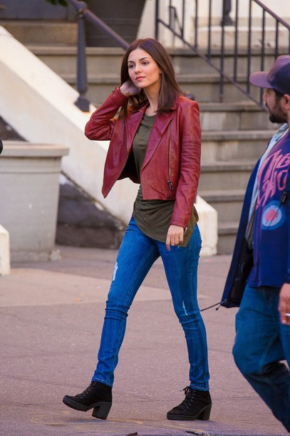 Top: jacket, leather jacket, faux leather, victoria justice