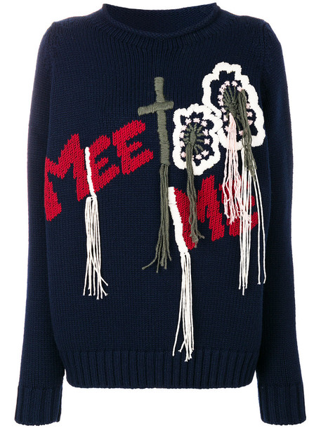 Wunderkind jumper embroidered women blue wool sweater