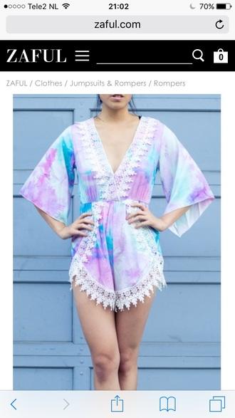 romper pastel fashion style purple summer tie dye spring girly cute zaful