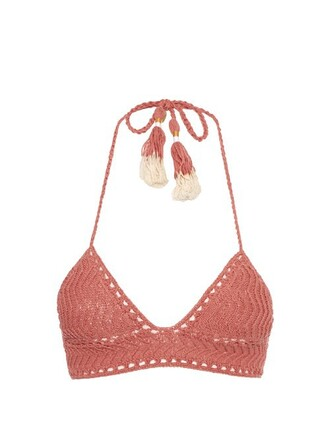 bikini bikini top triangle bikini triangle crochet light pink light pink swimwear