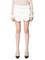White irregular tiered hem mid waist straight skirt short pants