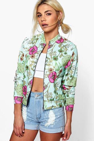 jacket bomber jacket lacey bomber floral bomber lacey floral bomber jersey bomber floral jersey bomber blue green 36683