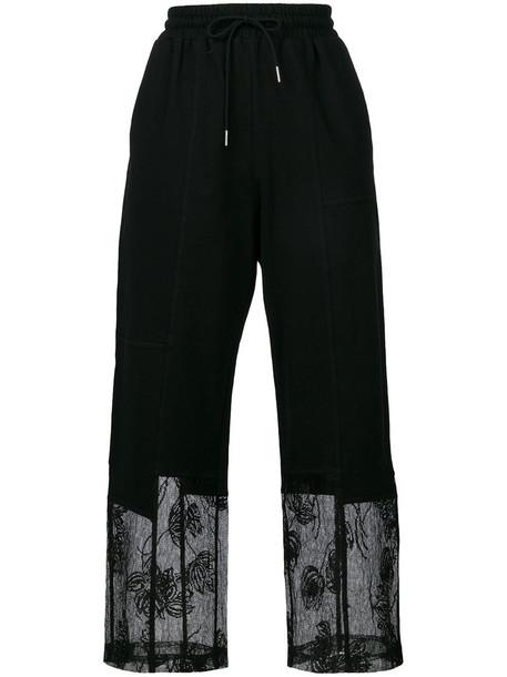 McQ Alexander McQueen women lace cotton black pants