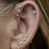 jewels,flower earings,triple forward helix,triple helix,ear piercings,earrings