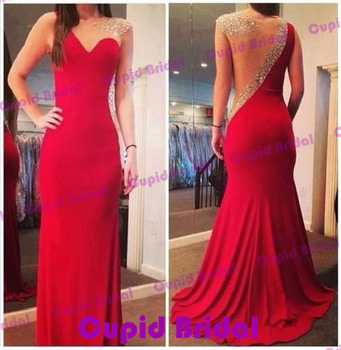 Aliexpress.com : Buy CBD0011  Elegant Luxury Beading Prom Dress Sheer Neck And Back Red Formal Long Prom Dresses Vestido De Festa 2014 from Reliable dresses uk suppliers on Cupid Bridal