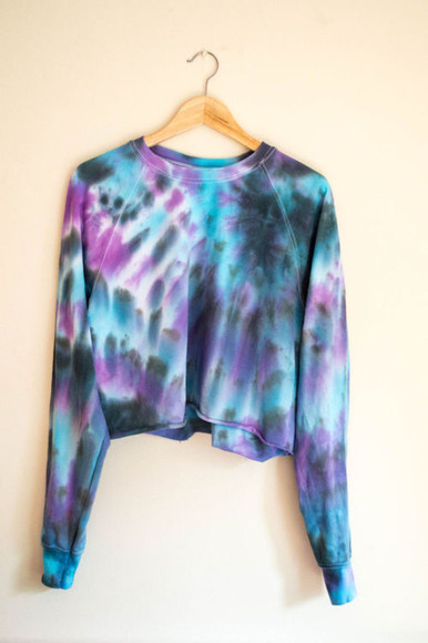 blue and white tie dye purple and black purple and blue purple top cropped sweater tie dye