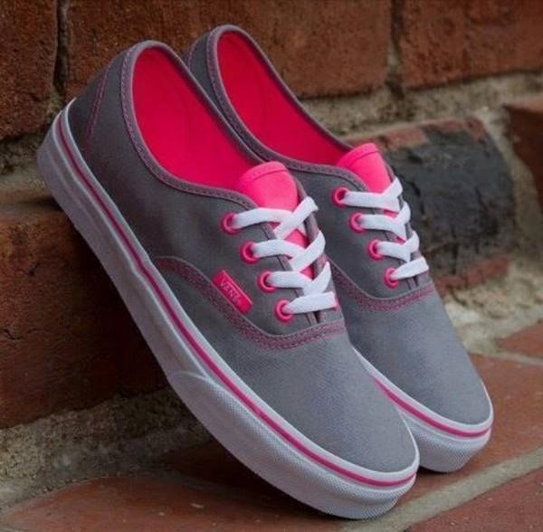shoes vans pink grey