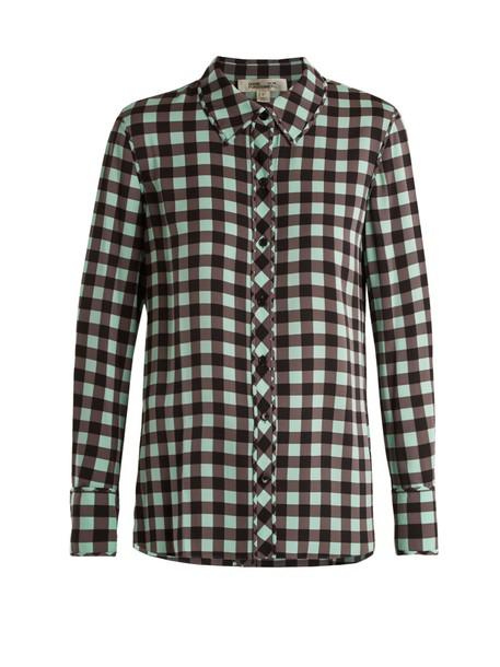 Diane Von Furstenberg shirt print silk green top