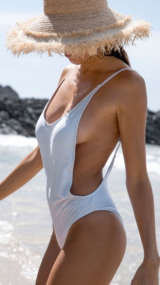 swimwear one piece swimsuit white one piece