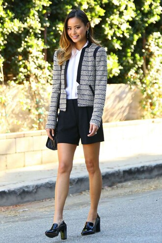 top blouse shorts fall outfits jacket trousers pants jamie chung shoes