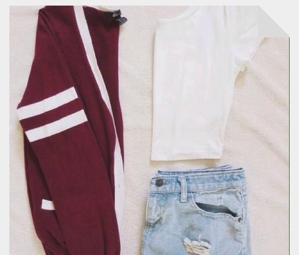 sweater burgundy white cardigan