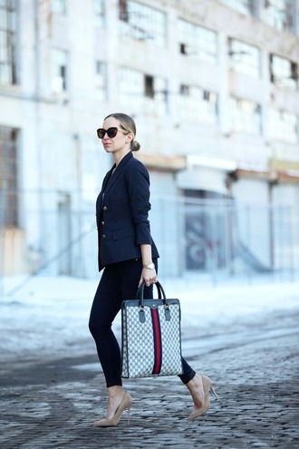 brooklyn blonde blogger office outfits classy handbag jacket shoes bag sunglasses scarf
