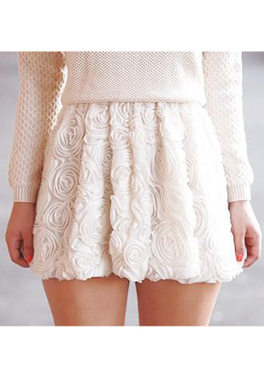 3D Roses White Skirt - Lookbook Store