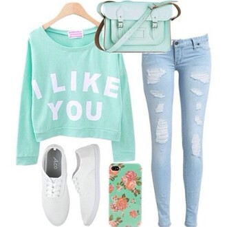 sweater jeans bag shoes jewels i like you mint graphic sweater blue pale quote on it quote on it ripped jeans light jeans shirt cool hipster