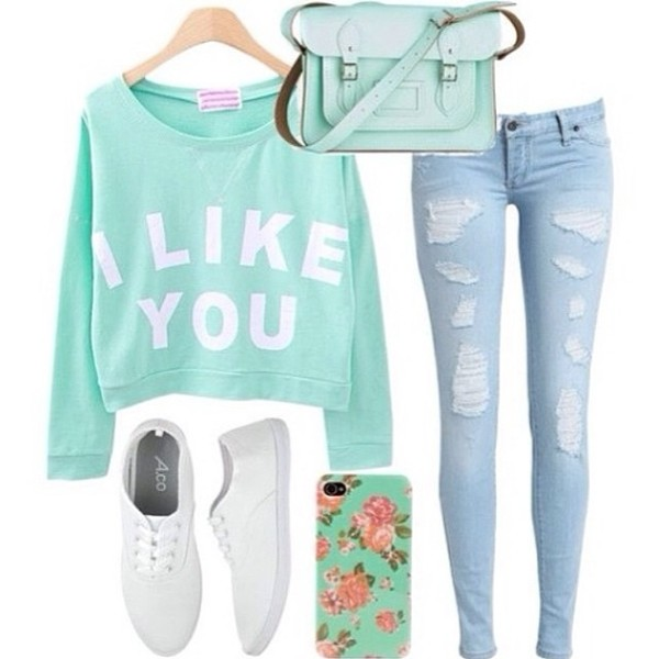 sweater bag jeans shoes jewels swimwear belt blouse cute mint green white vintage shirt ripped jeans faded blue light jeans sandal heels blue sweater graphic sweater blue pale quote on it quote on it ripped faded denim phone cover cool hipster i like you shirt i like you sweater iphone 5 case teal torquise turquoise cute sweaters Half Top leather bag off the shoulder mint sweet shirt mint sweater skirt pants shorts t-shirt cropped sweater hair accessory romper hat home accessory top girly aqua sweater blue jeans creps phone cover ripped jeans cross shoulder bag floral phone case light blue jeans turqouise clothes accessories