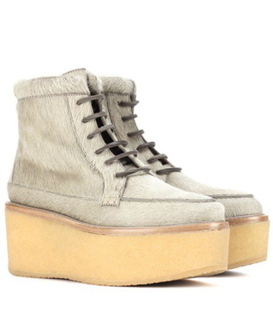 hair boots ankle boots beige shoes