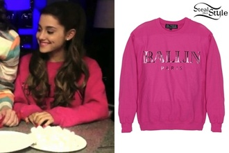 sweater ariana grande pink sweater pink ballin paris