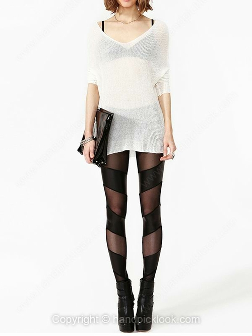 Black Elastic Waist Sexy Leggings - HandpickLook.com