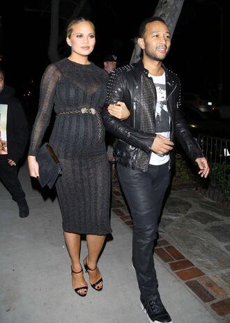shoes sandals chrissy teigen bodycon dress midi dress black dress maternity