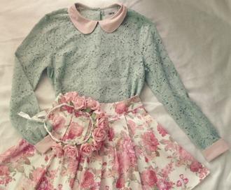 shirt turquoise lace lace shirt collar collared shirt kawaii jfashion kfashion japanese fashion korean fashion jacket skirt
