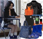 jacket,pretty little liars,aria montgomery,blue boots,black jacket,orange t-shirt,chanel nail polish,blue bag,skirt