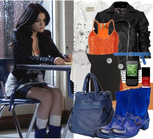 jacket pretty little liars aria montgomery aria montgomery blue boots black jacket orange t-shirt chanel nail polish blue bag skirt