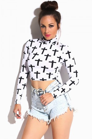 bright white cross print long sleeve high neck crop top
