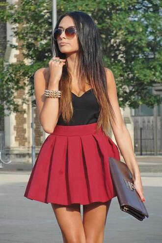 skirt red black shirt pleated purse tank top bag babydoll dress red dress dress c'as fashion cute dress classy burgundy scuba skirt