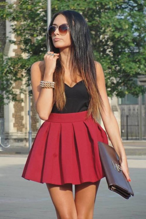 skirt red black shirt pleated purse tank top bag babydoll dress red dress dress c'as fashion cute dress classy burgundy scuba skirt