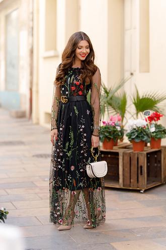 the mysterious girl blogger dress bag belt fall outfits fall dress embellished dress gucci belt pumps nude heels
