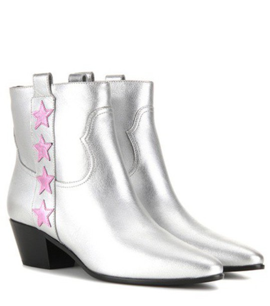 Saint Laurent rock metallic boots leather boots leather silver shoes