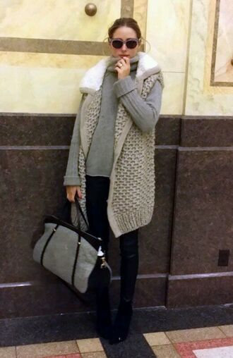 cardigan grey olivia palermo purse pants sunglasses fall outfits winter sweater vest