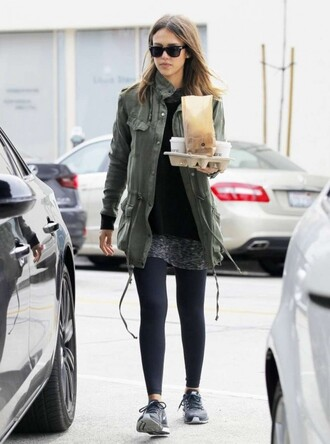 jacket military style jessica alba sneakers leggings fall outfits